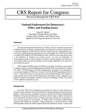 Primary view of object titled 'National Endowment for Democracy: Policy and Funding Issues'.