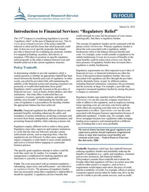 "Primary view of object titled 'Introduction to Financial Services: ""Regulatory Relief""'."