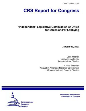 "Primary view of object titled '""Independent"" Legislative Commission or Office for Ethics and/or Lobbying'."