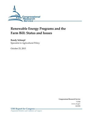 Primary view of object titled 'Renewable Energy Programs and the Farm Bill: Status and Issues'.