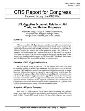 Primary view of object titled 'U.S.-Egyptian Economic Relations: Aid, Trade, and Reform Proposals'.