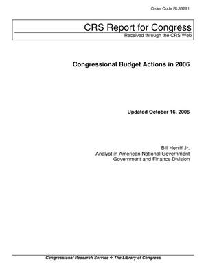 Primary view of object titled 'Congressional Budget Actions in 2006'.