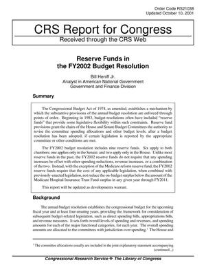Primary view of object titled 'Reserve Funds in the FY2002 Budget Resolution'.