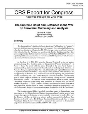 Primary view of object titled 'The Supreme Court and Detainees in the War on Terrorism: Summary and Analysis'.