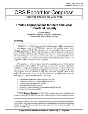Primary view of object titled 'FY2006 Appropriations for State and Local Homeland Security'.