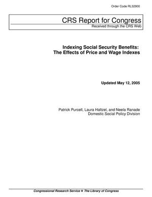 Primary view of object titled 'Indexing Social Security Benefits: The Effects of Price and Wage Indexes'.