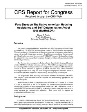 Primary view of Fact Sheet on The Native American Housing Assistance and Self-Determination Act of 1996 (NAHASDA)