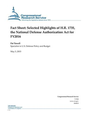 Primary view of object titled 'Fact Sheet: Selected Highlights of H.R. 1735, the National Defense Authorization Act for FY2016'.