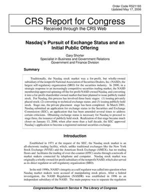Primary view of object titled 'Nasdaq's Pursuit of Exchange Status and an Initial Public Offering'.