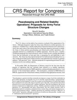 Primary view of object titled 'Peacekeeping and Related Stability Operations: Proposals for Army Force Structure Changes'.