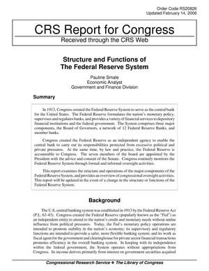 Primary view of object titled 'Structure and Functions of The Federal Reserve System'.