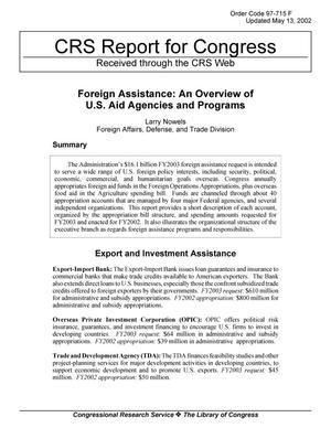 Primary view of object titled 'Foreign Assistance: An Overview of U.S. Aid Agencies and Programs'.