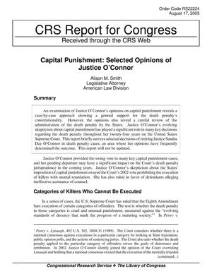 Primary view of object titled 'Capital Punishment: Selected Opinions of Justice O'Connor'.