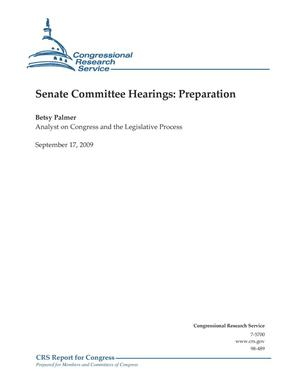 Primary view of object titled 'Senate Committee Hearings: Preparation'.