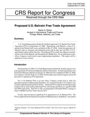 Primary view of object titled 'Proposed U.S.-Bahrain Free Trade Agreement'.