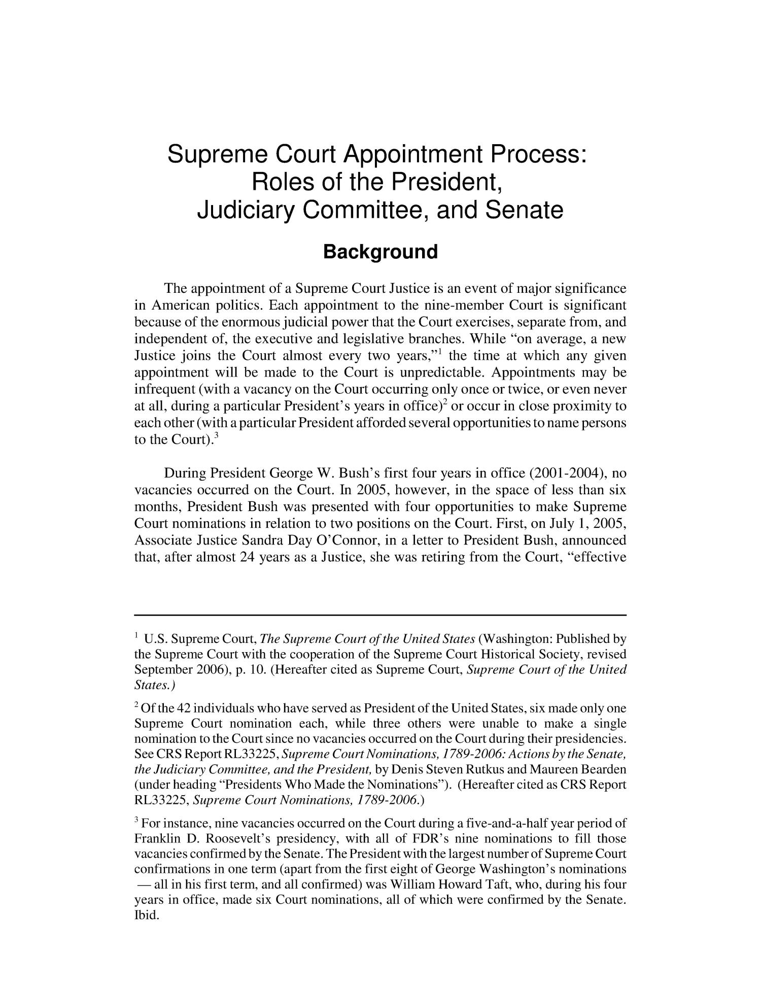 Supreme Court Appointment Process: Roles of the President, Judiciary Committee, and Senate                                                                                                      [Sequence #]: 4 of 74
