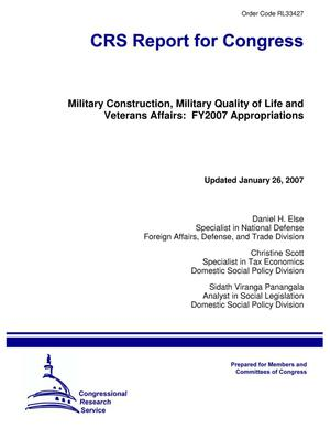 Primary view of object titled 'Military Construction, Military Quality of Life and Veterans Affairs: FY2007 Appropriations'.