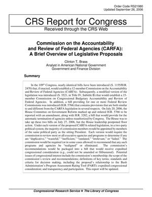 Primary view of object titled 'Commission on the Accountability and Review of Federal Agencies (CARFA): A Brief Overview of Legislative Proposals'.