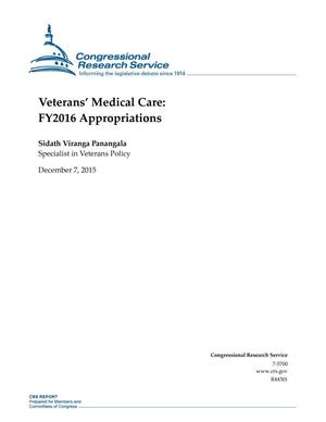 Primary view of object titled 'Veterans' Medical Care: FY2016 Appropriations'.