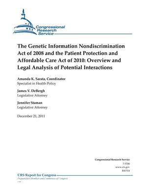Primary view of object titled 'The Genetic Information Nondiscrimination Act of 2008 and the Patient Protection and Affordable Care Act of 2010: Overview and Legal Analysis of Potential Interactions'.