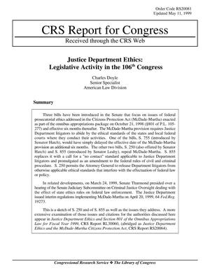 Primary view of object titled 'Justice Department Ethics: Legislative Activity in the 106th Congress'.
