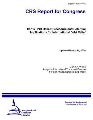 Primary view of object titled 'Iraq's Debt Relief: Procedure and Potential Implications for International Debt Relief'.
