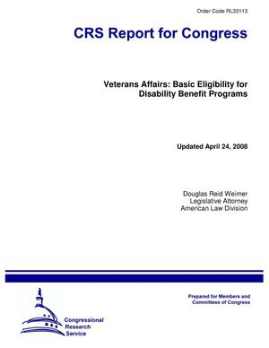 Primary view of object titled 'Veterans Affairs: Basic Eligibility for Disability Benefit Programs'.