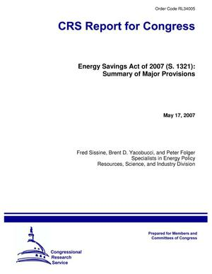 Primary view of object titled 'Energy Savings Act of 2007 (S. 1321): Summary of Major Provisions'.