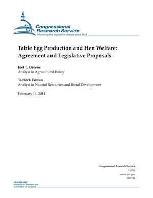 Primary view of object titled 'Table Egg Production and Hen Welfare: Agreement and Legislative Proposals'.