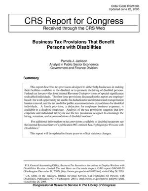 Primary view of object titled 'Business Tax Provisions That Benefit Persons with Disabilities'.