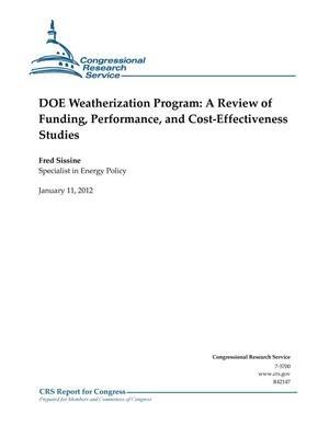 Primary view of object titled 'DOE Weatherization Program: A Review of Funding, Performance, and Cost-Effectiveness Studies'.
