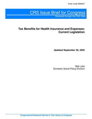 Primary view of object titled 'Tax Benefits for Health Insurance and Expenses: Current Legislation'.
