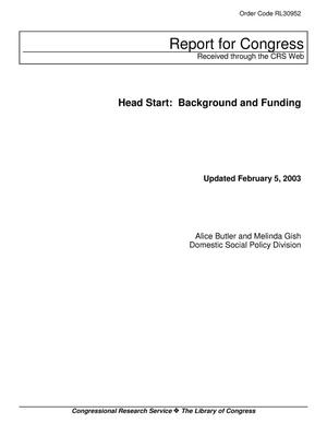 Primary view of object titled 'Head Start: Background and Funding'.