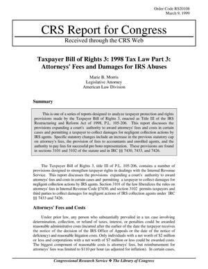Primary view of object titled 'Taxpayer Bill of Rights 3: 1998 Tax Law Part 3: Attorneys' Fees and Damages for IRS Abuses'.