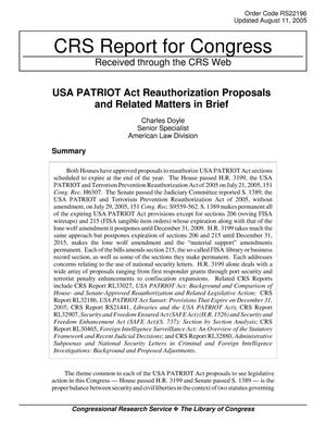 Primary view of object titled 'USA PATRIOT Act Reauthorization Proposals and Related Matters in Brief'.