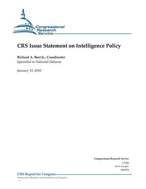 Primary view of object titled 'CRS Issue Statement on Intelligence Policy'.