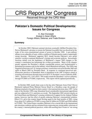 Primary view of object titled 'Pakistan's Domestic Political Developments: Issues for Congress'.