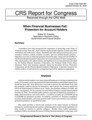 Primary view of object titled 'When Financial Businesses Fail: Protection for Account Holders'.