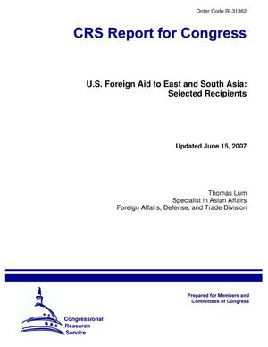 Primary view of object titled 'U.S. Foreign Aid to East and South Asia: Selected Recipients'.