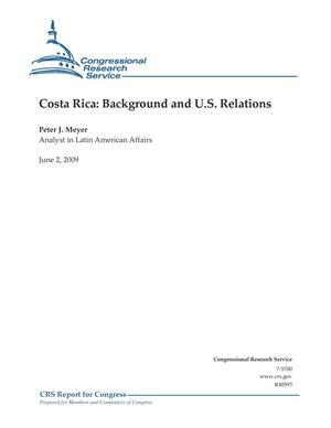 Primary view of object titled 'Costa Rica: Background and U.S. Relations'.