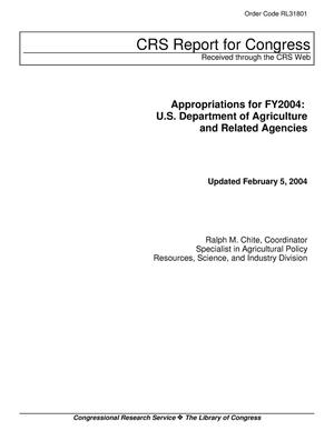 Primary view of object titled 'Appropriations for FY2004: U.S. Department of Agriculture and Related Agencies'.