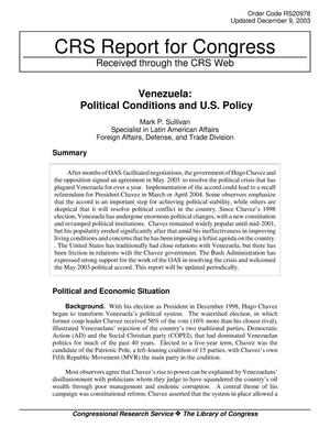 Primary view of object titled 'Venezuela: Political Conditions and U.S. Policy'.