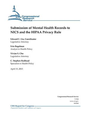 Primary view of object titled 'Submission of Mental Health Records to NICS and the HIPAA Privacy Rule'.