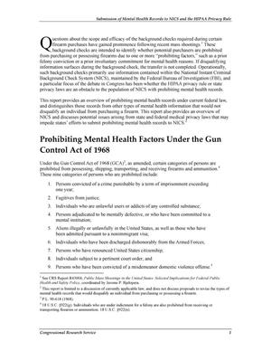 Submission of Mental Health Records to NICS and the HIPAA