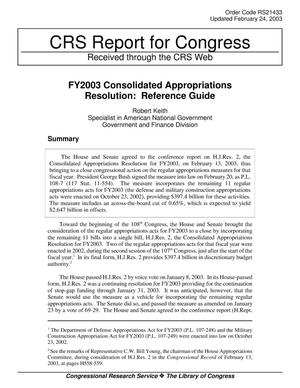 Primary view of object titled 'FY2003 Consolidated Appropriations Resolution: Reference Guide'.