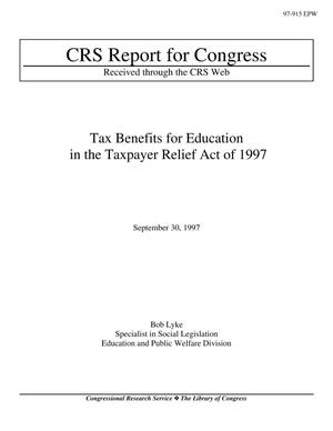 Primary view of object titled 'Tax Benefits for Education in the Taxpayer Relief Act of 1997'.