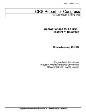 Primary view of object titled 'Appropriations for FY2004: District of Columbia'.
