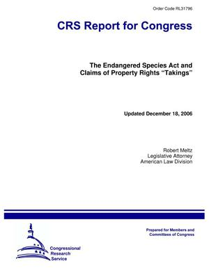 "Primary view of object titled 'The Endangered Species Act and Claims of Property Rights ""Takings""'."