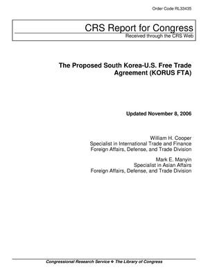Primary view of object titled 'The Proposed South Korea-U.S. Free Trade Agreement (KORUS FTA)'.