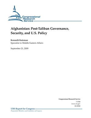 Primary view of object titled 'Afghanistan: Post-Taliban Governance, Security, and U.S. Policy'.